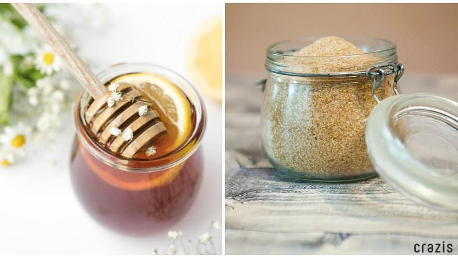 Tẩy tế bào chết môi bằng đường nâu và mật ong
