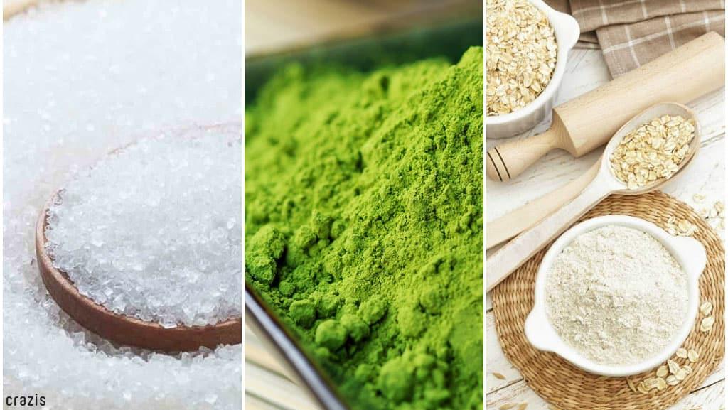 Tẩy tế bào chết bằng đường, bột trà xanh, bột yến mạch,...